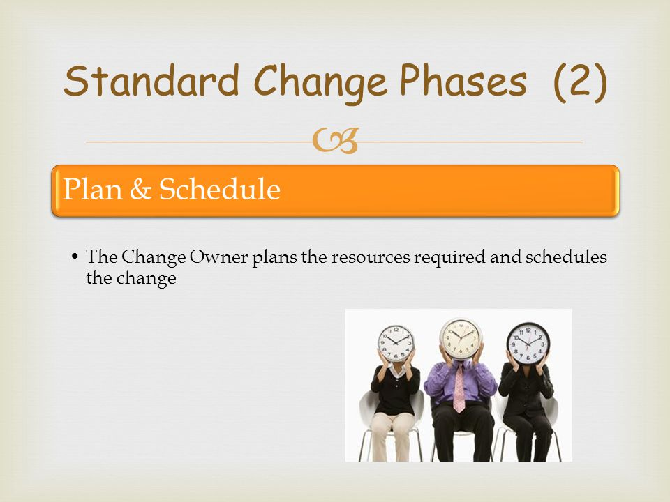  Plan & Schedule The Change Owner plans the resources required and schedules the change Standard Change Phases (2)