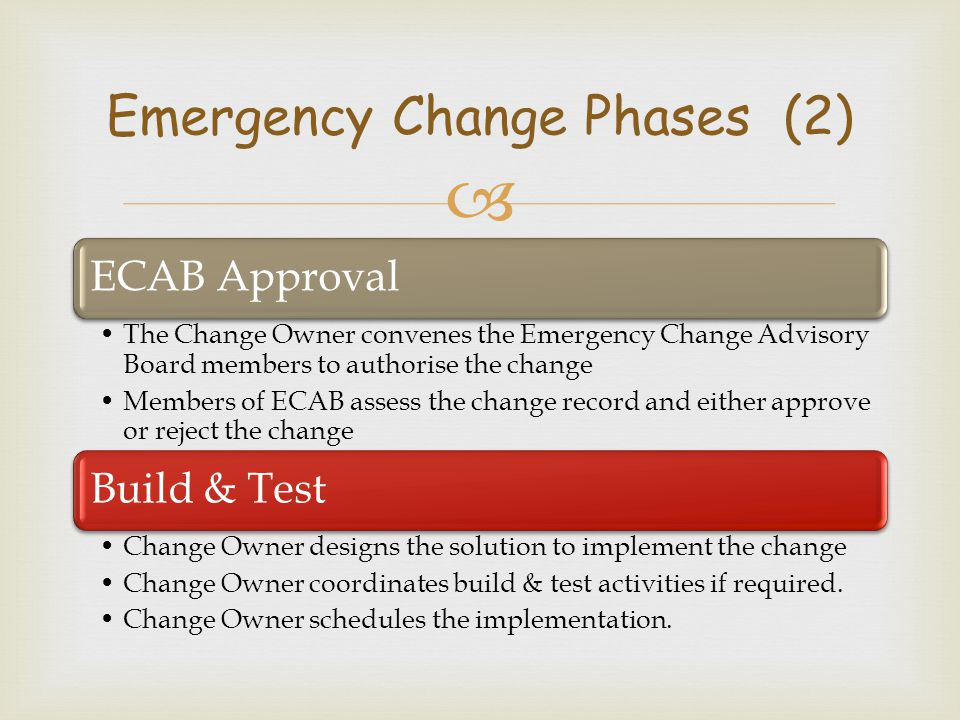  ECAB Approval The Change Owner convenes the Emergency Change Advisory Board members to authorise the change Members of ECAB assess the change record