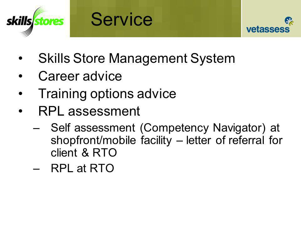 Service Skills Store Management System Career advice Training options advice RPL assessment –Self assessment (Competency Navigator) at shopfront/mobile facility – letter of referral for client & RTO –RPL at RTO