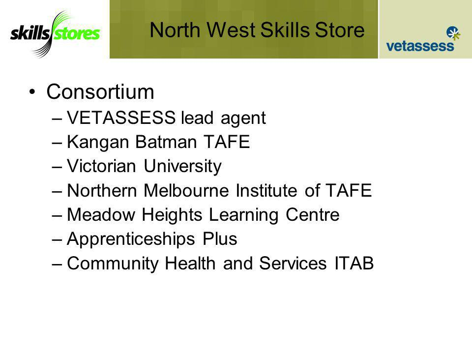 North West Skills Store Consortium –VETASSESS lead agent –Kangan Batman TAFE –Victorian University –Northern Melbourne Institute of TAFE –Meadow Heights Learning Centre –Apprenticeships Plus –Community Health and Services ITAB
