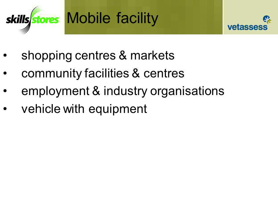 Mobile facility shopping centres & markets community facilities & centres employment & industry organisations vehicle with equipment