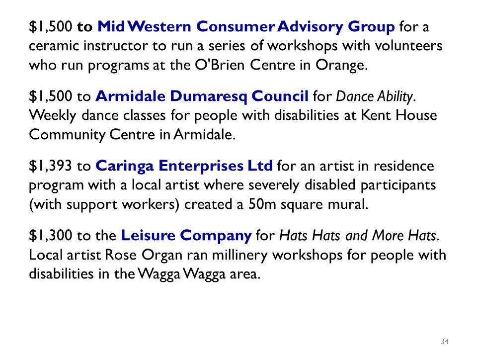 $1,500 to Mid Western Consumer Advisory Group for a ceramic instructor to run a series of workshops with volunteers who run programs at the O Brien Centre in Orange.