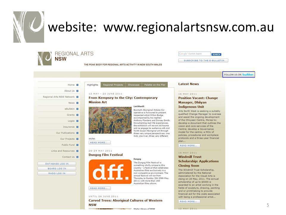 website: www.regionalartsnsw.com.au 5