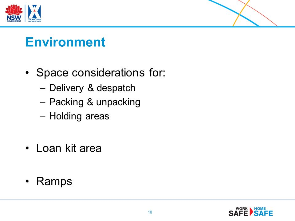Environment Space considerations for: –Delivery & despatch –Packing & unpacking –Holding areas Loan kit area Ramps 10