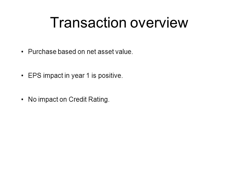 Transaction overview Purchase based on net asset value.