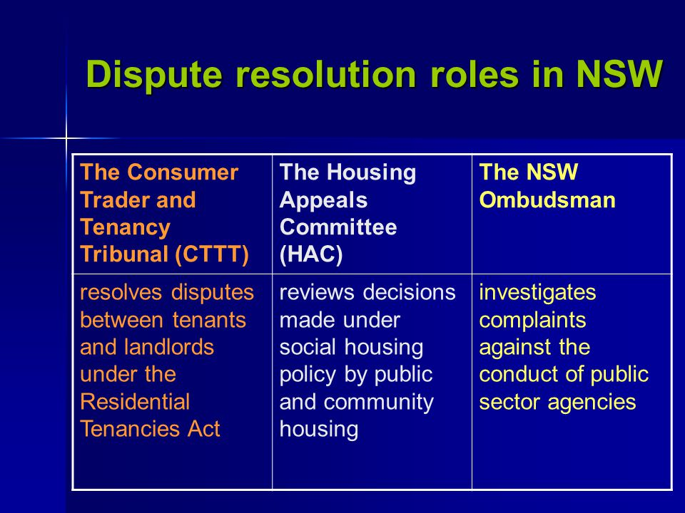 The Consumer Trader and Tenancy Tribunal (CTTT) The Housing Appeals Committee (HAC) The NSW Ombudsman resolves disputes between tenants and landlords