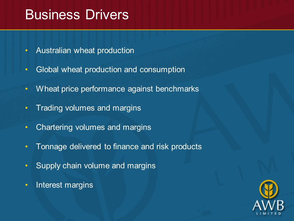 Australian wheat production Global wheat production and consumption Wheat price performance against benchmarks Trading volumes and margins Chartering volumes and margins Tonnage delivered to finance and risk products Supply chain volume and margins Interest margins