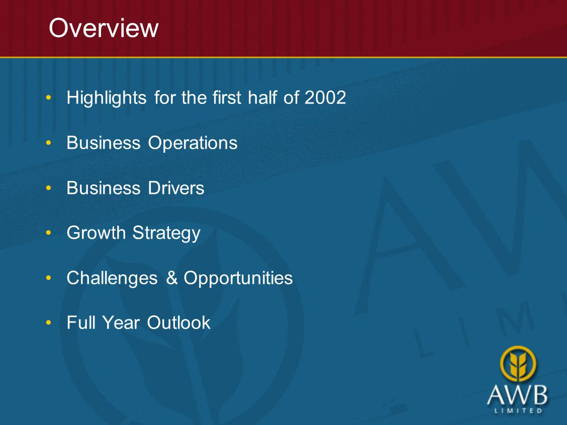 Overview Highlights for the first half of 2002 Business Operations Business Drivers Growth Strategy Challenges & Opportunities Full Year Outlook