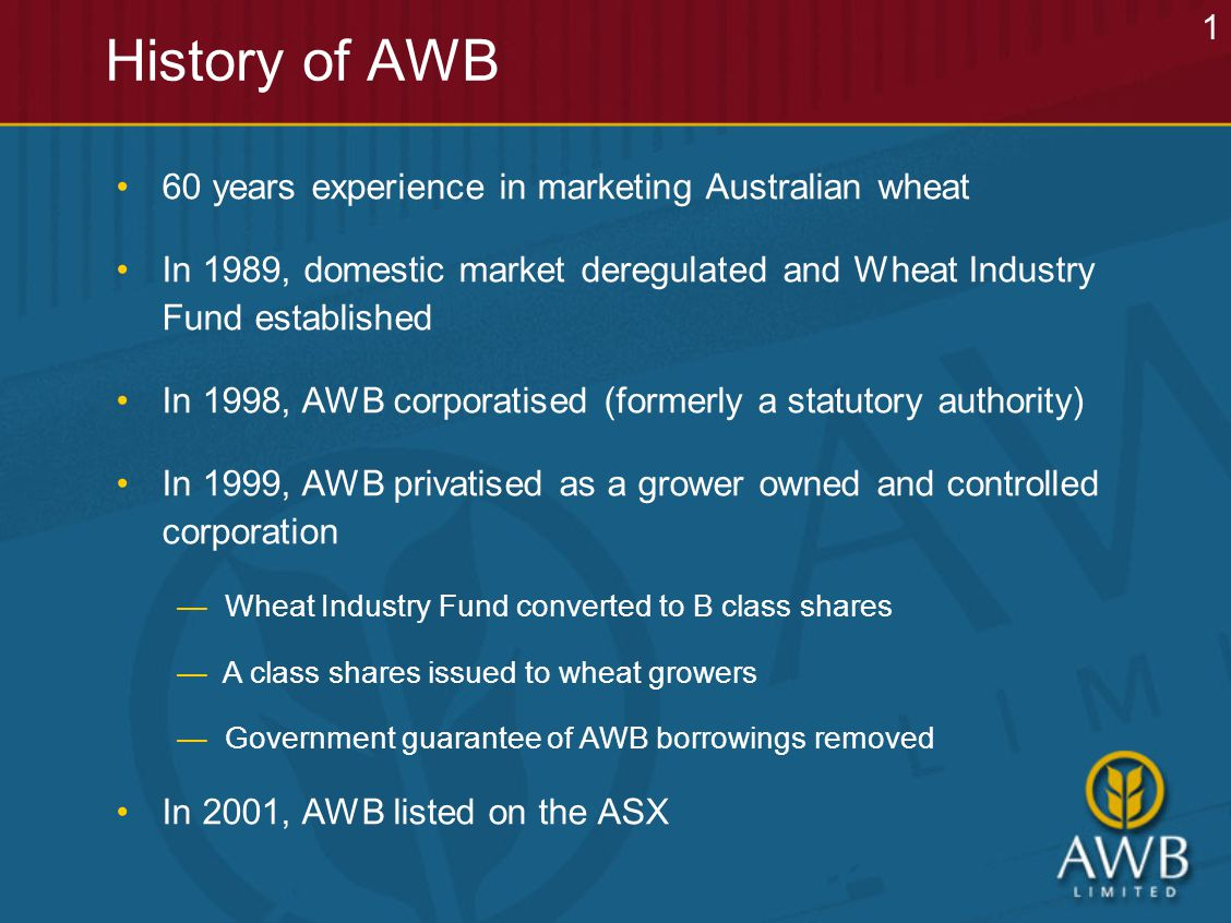 History of AWB 60 years experience in marketing Australian wheat In 1989, domestic market deregulated and Wheat Industry Fund established In 1998, AWB corporatised (formerly a statutory authority) In 1999, AWB privatised as a grower owned and controlled corporation — Wheat Industry Fund converted to B class shares — A class shares issued to wheat growers — Government guarantee of AWB borrowings removed In 2001, AWB listed on the ASX 1