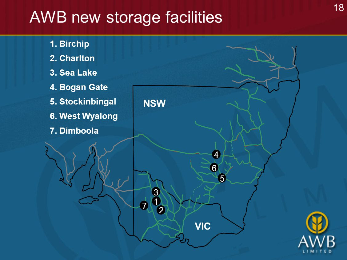 AWB new storage facilities 4 6 5 3 2 1 4 6 5 3 2 1 1.