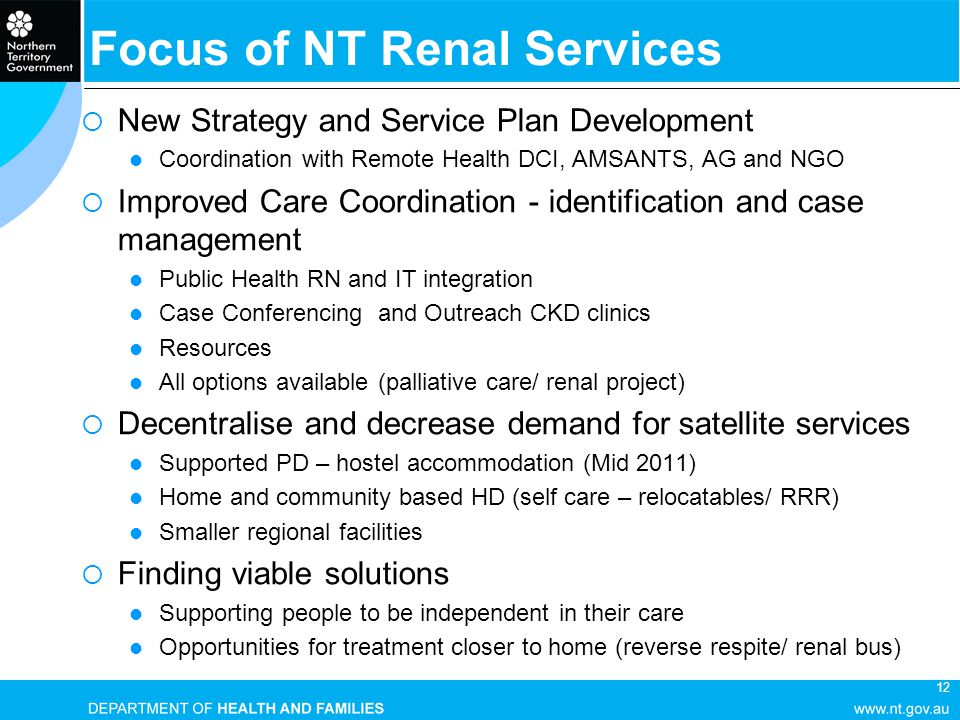 12 Focus of NT Renal Services  New Strategy and Service Plan Development Coordination with Remote Health DCI, AMSANTS, AG and NGO  Improved Care Coo