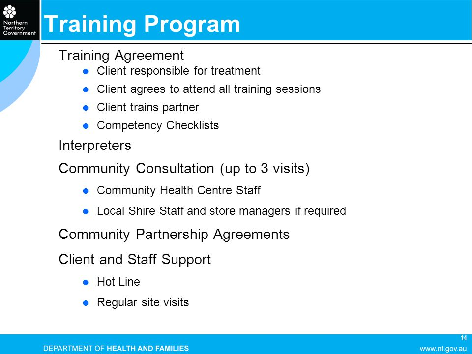14 Training Agreement Client responsible for treatment Client agrees to attend all training sessions Client trains partner Competency Checklists Inter