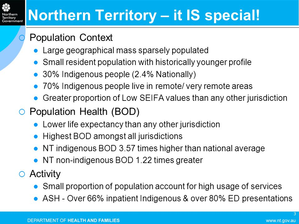 3 Northern Territory – it IS special!  Population Context Large geographical mass sparsely populated Small resident population with historically youn