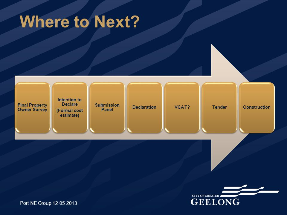 Where to Next? Port NE Group 12-05-2013 Final Property Owner Survey Intention to Declare (Formal cost estimate) Submission Panel DeclarationVCAT?Tende