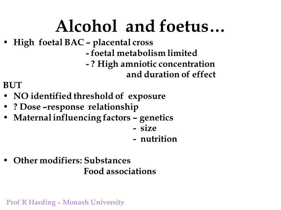 Alcohol and foetus… High foetal BAC – placental cross - foetal metabolism limited - .