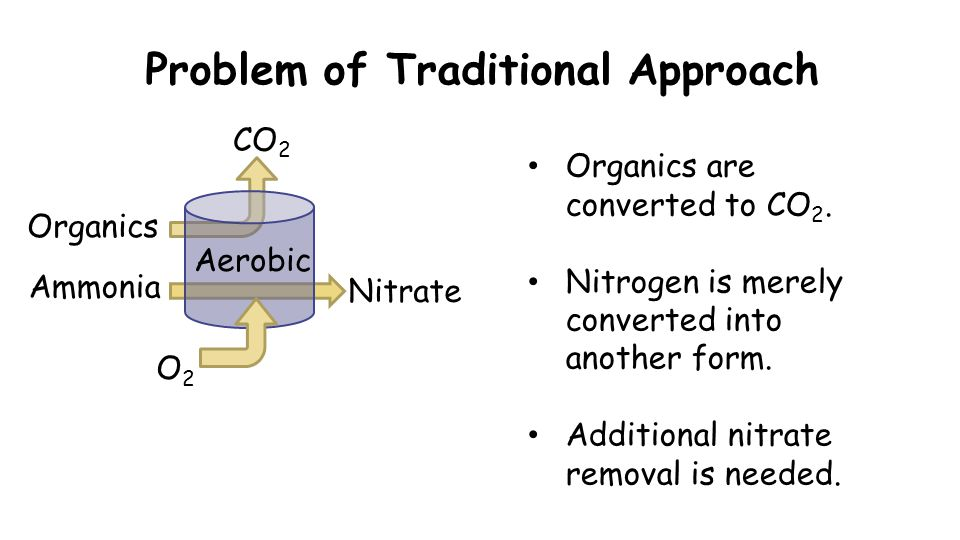 Problem of Traditional Approach O2O2 CO 2 Organics Nitrate Organics are converted to CO 2. Nitrogen is merely converted into another form. Additional