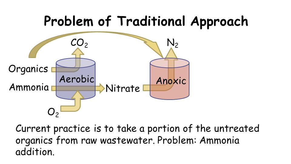 Problem of Traditional Approach O2O2 CO 2 Organics Nitrate Current practice is to take a portion of the untreated organics from raw wastewater. Proble