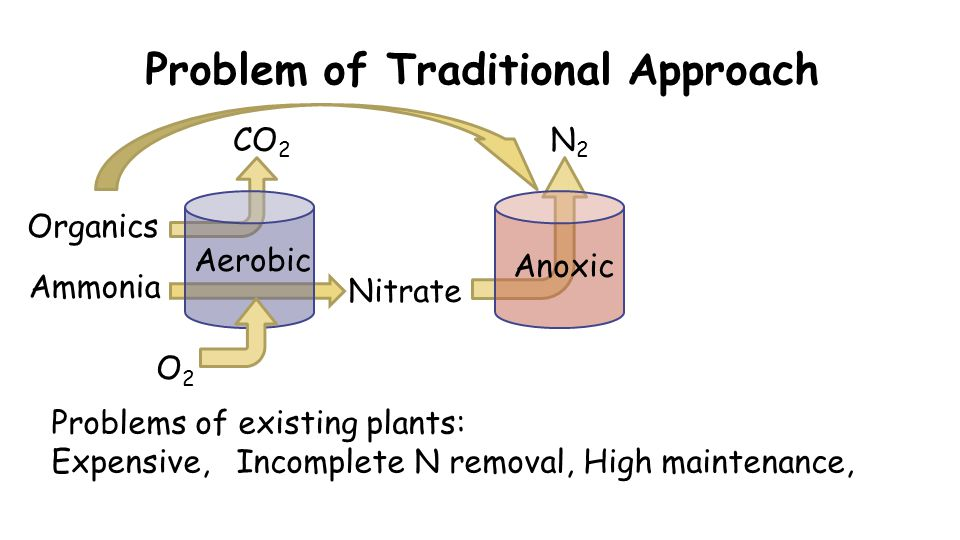 Problem of Traditional Approach O2O2 CO 2 Organics Nitrate Problems of existing plants: Expensive, Incomplete N removal, High maintenance, N2N2 Aerobi