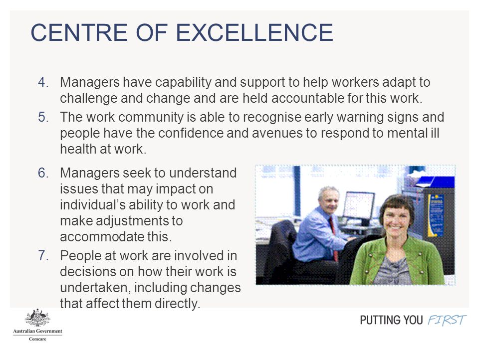 CENTRE OF EXCELLENCE 4.Managers have capability and support to help workers adapt to challenge and change and are held accountable for this work.