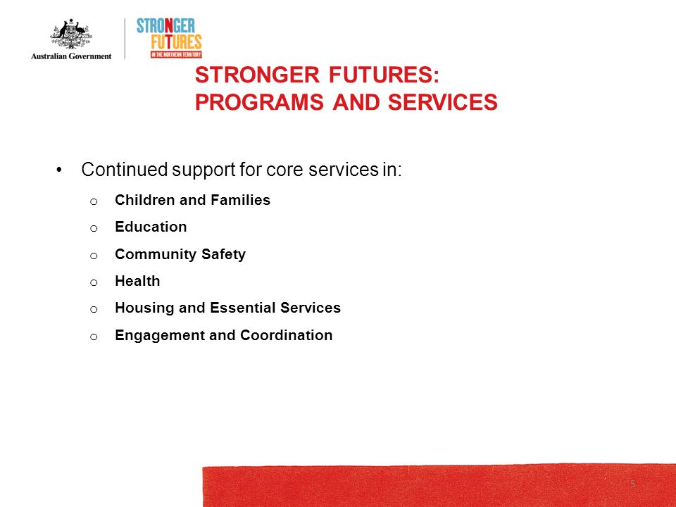 STRONGER FUTURES: LEGISLATION Still before Parliament – not yet law Repeals NTER legislation o RDA applies Relates to: o School Enrolment and Attendance Measure – SEAM o Tackling alcohol abuse o Community safety o Food security o Land reform 6