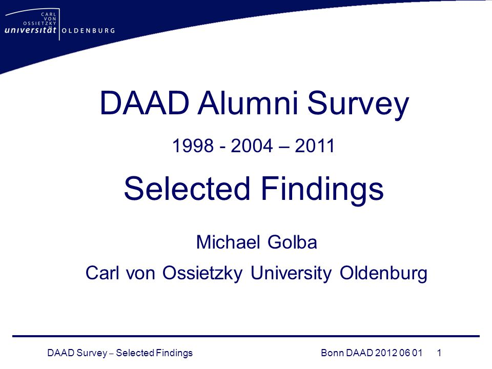 DAAD Survey – Selected FindingsBonn DAAD DAAD Alumni Survey – 2011 Selected Findings Michael Golba Carl von Ossietzky University Oldenburg