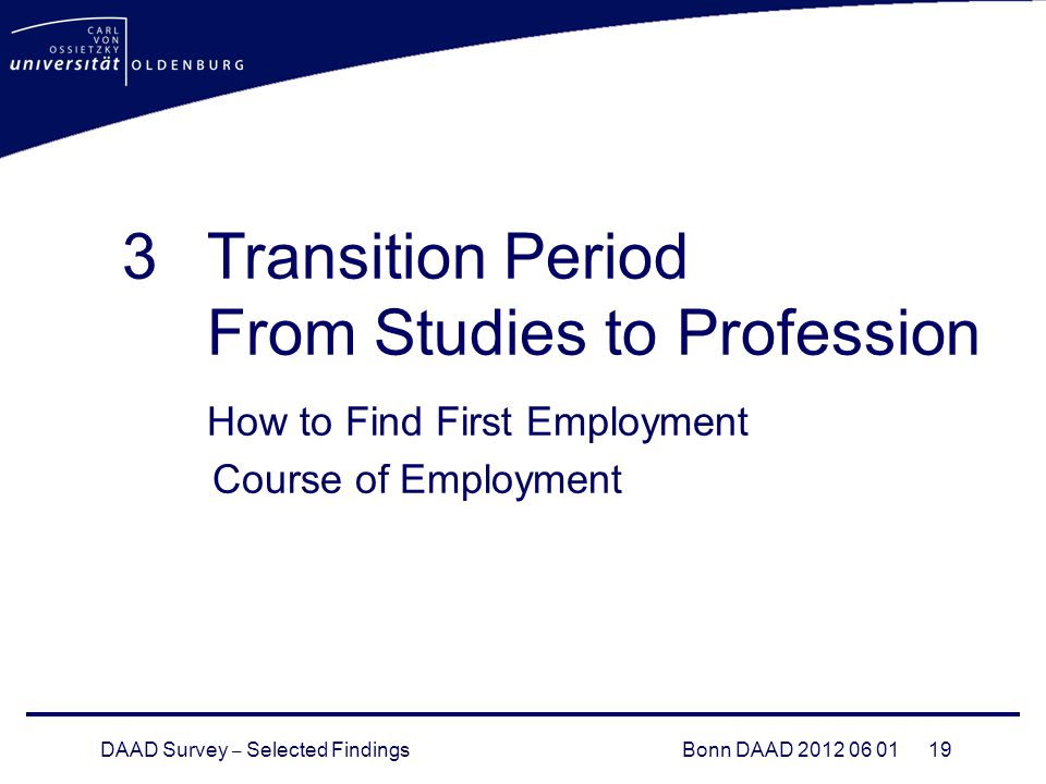 DAAD Survey – Selected FindingsBonn DAAD Transition Period From Studies to Profession How to Find First Employment Course of Employment
