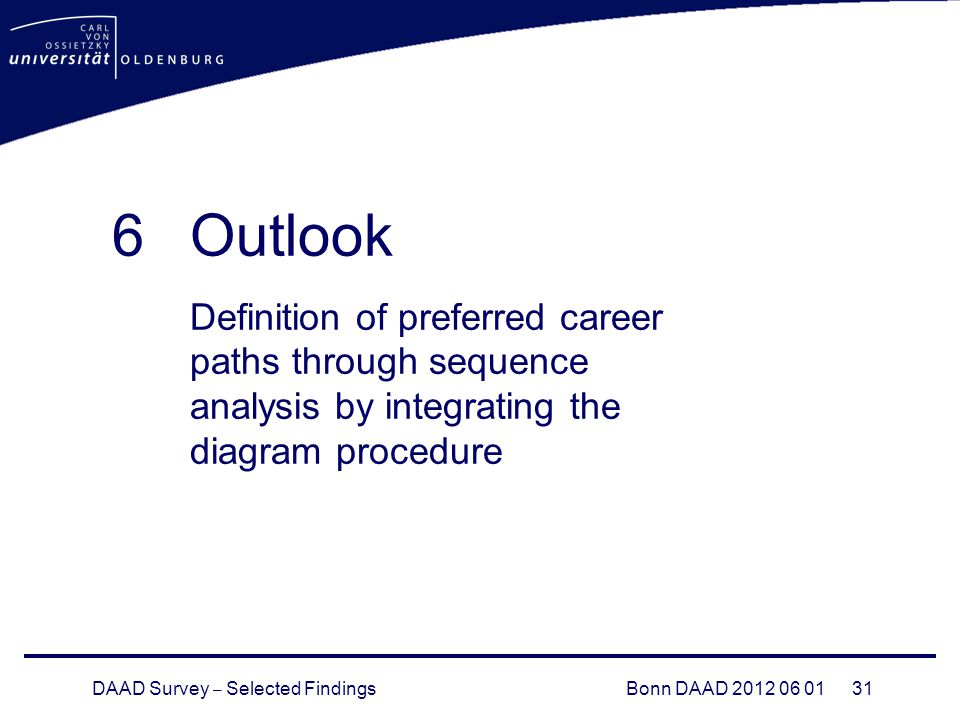 DAAD Survey – Selected FindingsBonn DAAD 2012 06 01 31 6Outlook Definition of preferred career paths through sequence analysis by integrating the diag