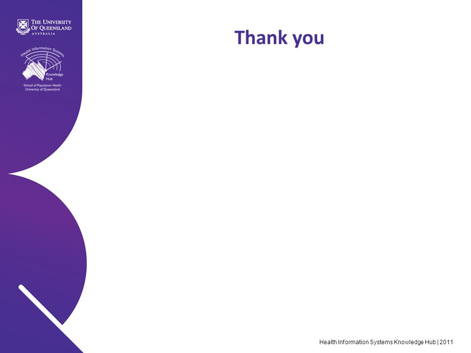 Health Information Systems Knowledge Hub | 2011 Thank you