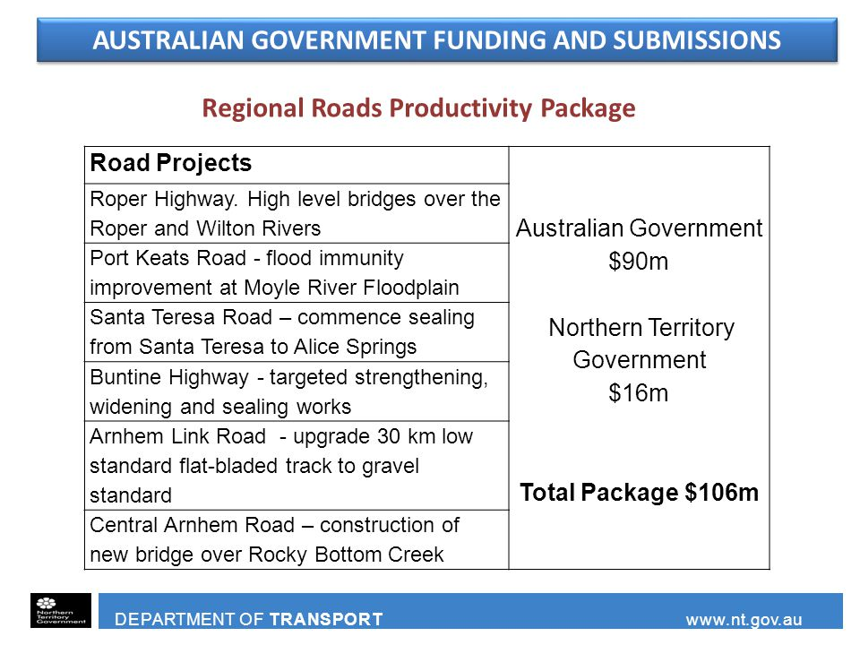 AUSTRALIAN GOVERNMENT FUNDING AND SUBMISSIONS DEPARTMENT OF TRANSPORT www.nt.gov.au Road Projects Australian Government $90m Northern Territory Government $16m Total Package $106m Roper Highway.