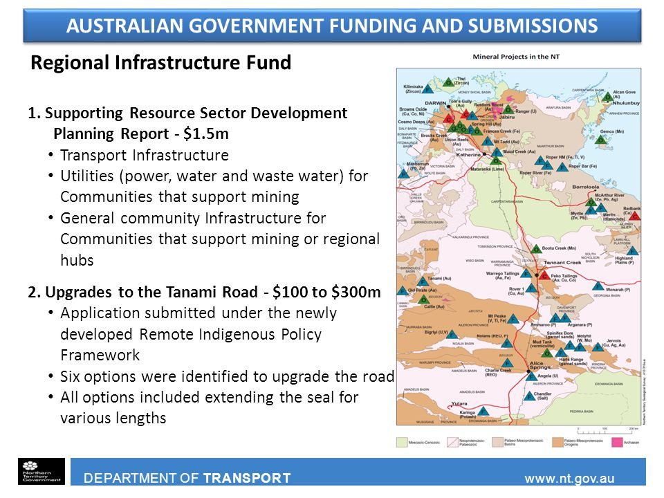 Regional Infrastructure Fund 1. Supporting Resource Sector Development Planning Report - $1.5m Transport Infrastructure Utilities (power, water and wa