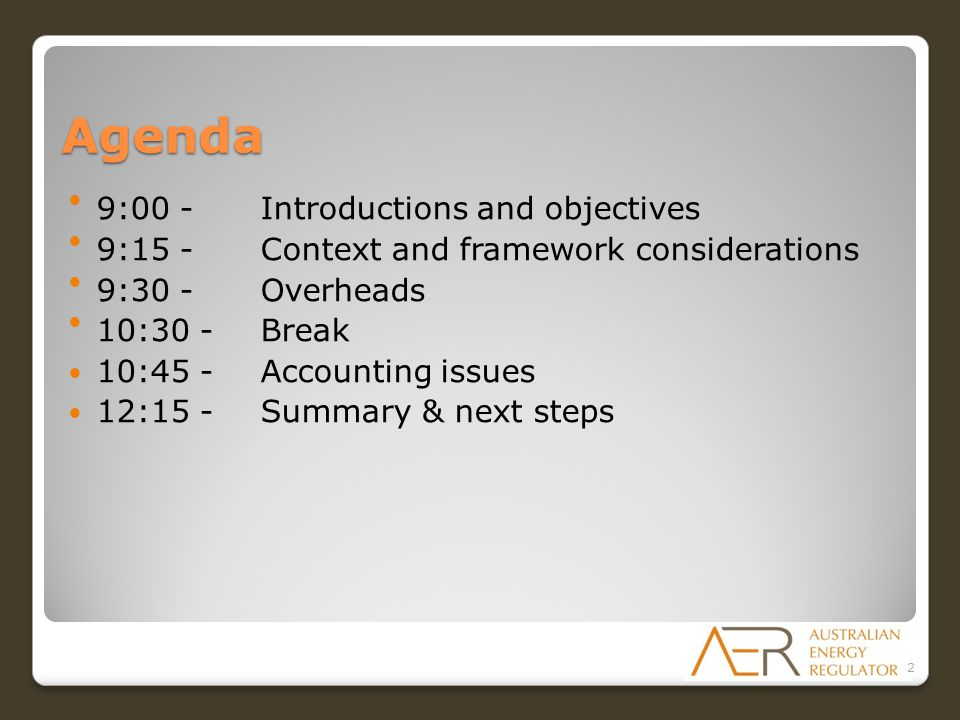 Agenda 9:00 -Introductions and objectives 9:15 - Context and framework considerations 9:30 - Overheads 10:30 - Break 10:45 - Accounting issues 12:15 - Summary & next steps 2