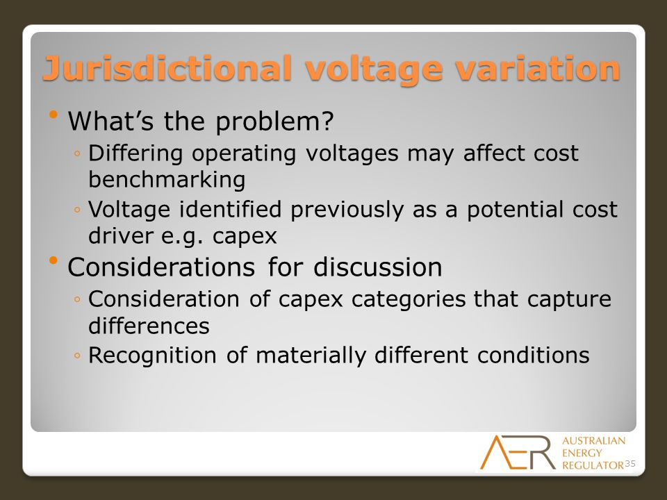 Jurisdictional voltage variation What's the problem.