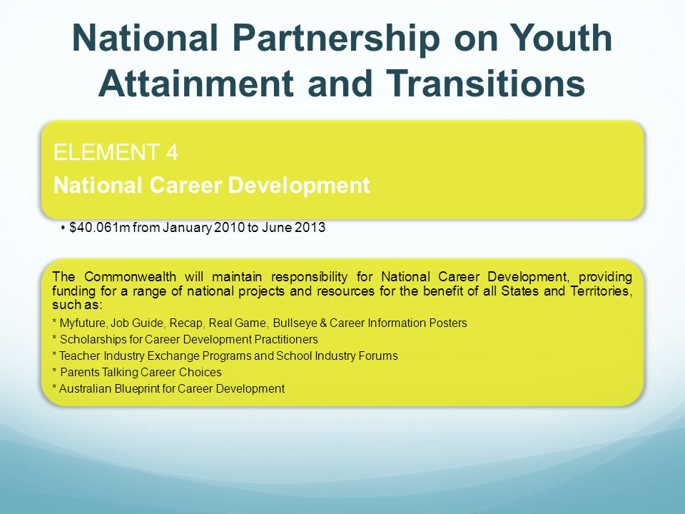 ELEMENT 4 National Career Development $40.061m from January 2010 to June 2013 The Commonwealth will maintain responsibility for National Career Development, providing funding for a range of national projects and resources for the benefit of all States and Territories, such as: * Myfuture, Job Guide, Recap, Real Game, Bullseye & Career Information Posters * Scholarships for Career Development Practitioners * Teacher Industry Exchange Programs and School Industry Forums * Parents Talking Career Choices * Australian Blueprint for Career Development