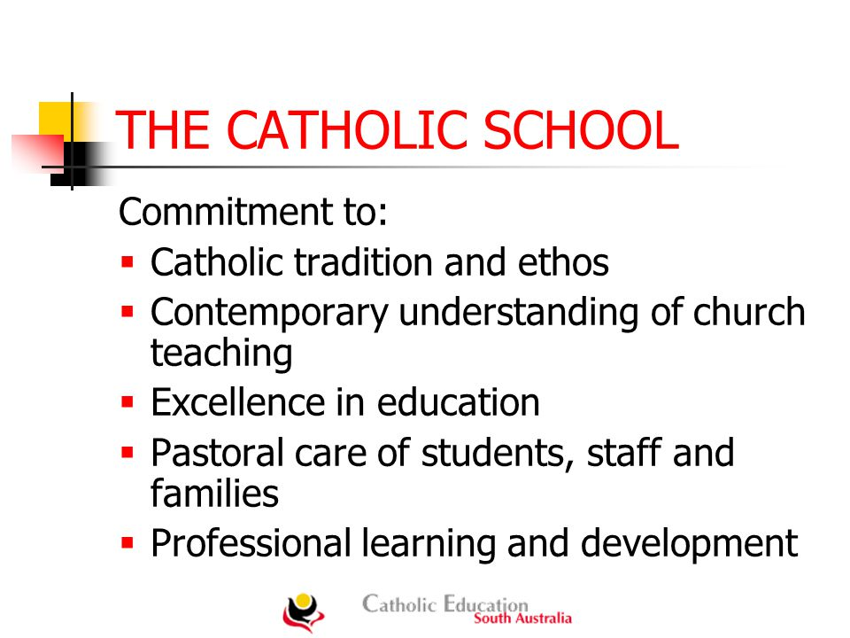 THE CATHOLIC SCHOOL Commitment to:  Catholic tradition and ethos  Contemporary understanding of church teaching  Excellence in education  Pastoral care of students, staff and families  Professional learning and development