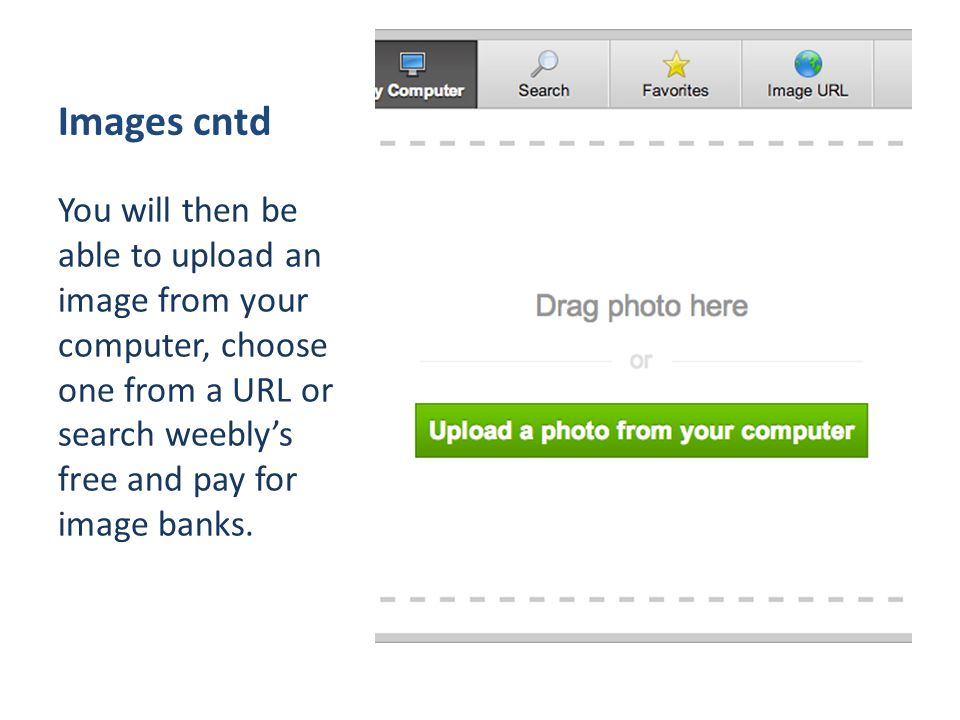 Images cntd You will then be able to upload an image from your computer, choose one from a URL or search weebly's free and pay for image banks.