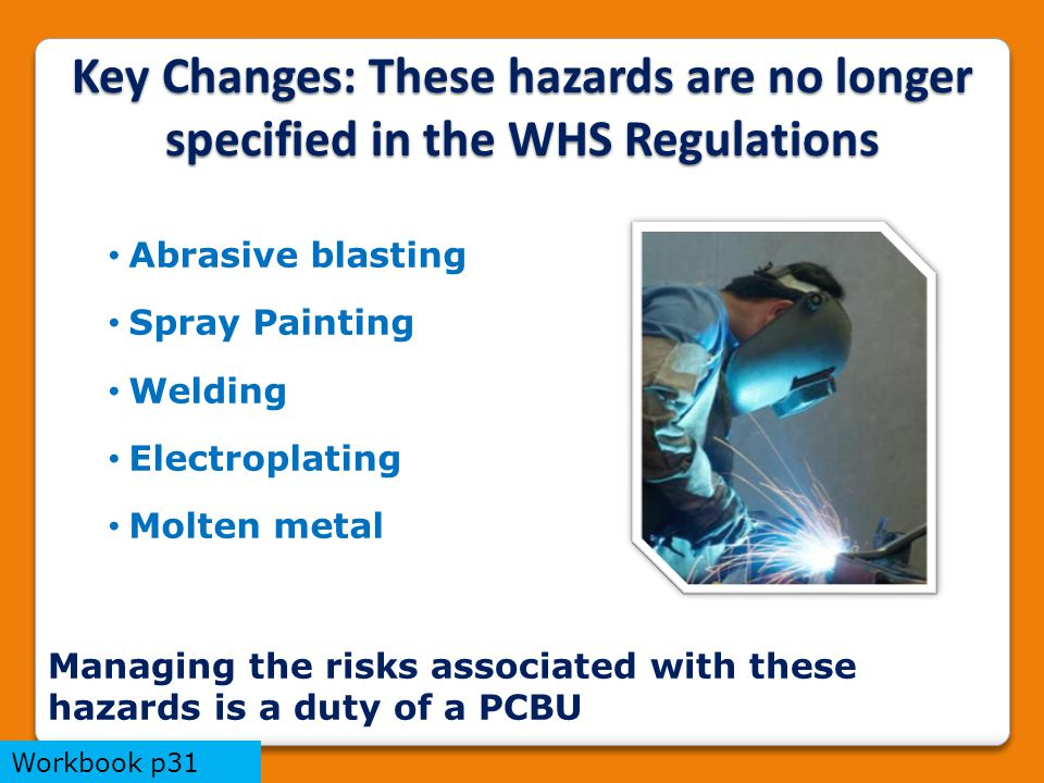 Key Changes: These hazards are no longer specified in the WHS Regulations Abrasive blasting Spray Painting Welding Electroplating Molten metal Managing the risks associated with these hazards is a duty of a PCBU Workbook p31
