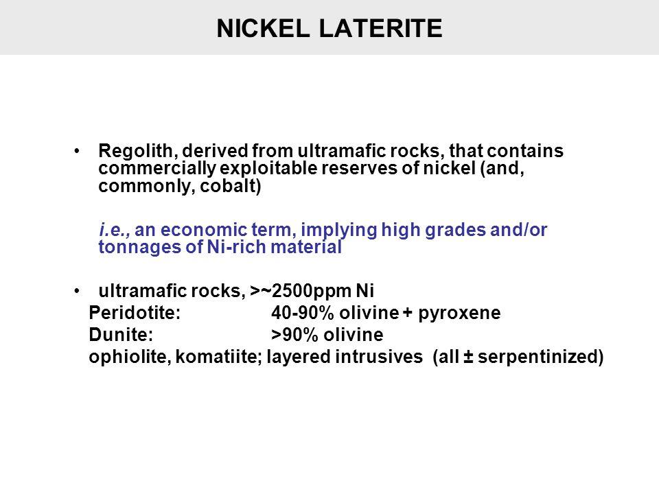 HYDROUS SILICATE (GARNIERITE) – OXIDE PROFILE Oxide