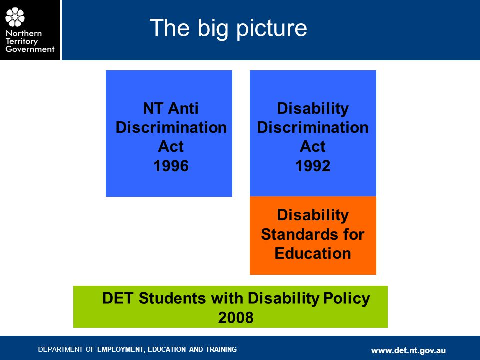 DEPARTMENT OF EMPLOYMENT, EDUCATION AND TRAINING www.det.nt.gov.au The big picture NT Anti Discrimination Act 1996 Disability Discrimination Act 1992 Disability Standards for Education DET Students with Disability Policy 2008