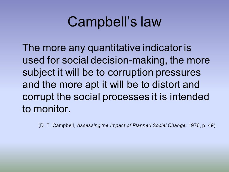Campbell's law The more any quantitative indicator is used for social decision-making, the more subject it will be to corruption pressures and the more apt it will be to distort and corrupt the social processes it is intended to monitor.