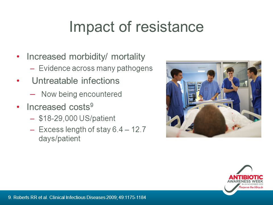 Impact of resistance Increased morbidity/ mortality –Evidence across many pathogens Untreatable infections – Now being encountered Increased costs 9 –