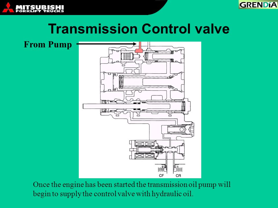 Once the engine has been started the transmission oil pump will begin to supply the control valve with hydraulic oil.