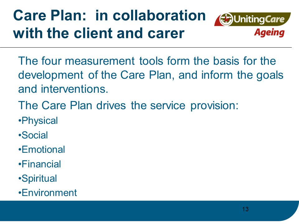 13 Care Plan: in collaboration with the client and carer The four measurement tools form the basis for the development of the Care Plan, and inform the goals and interventions.