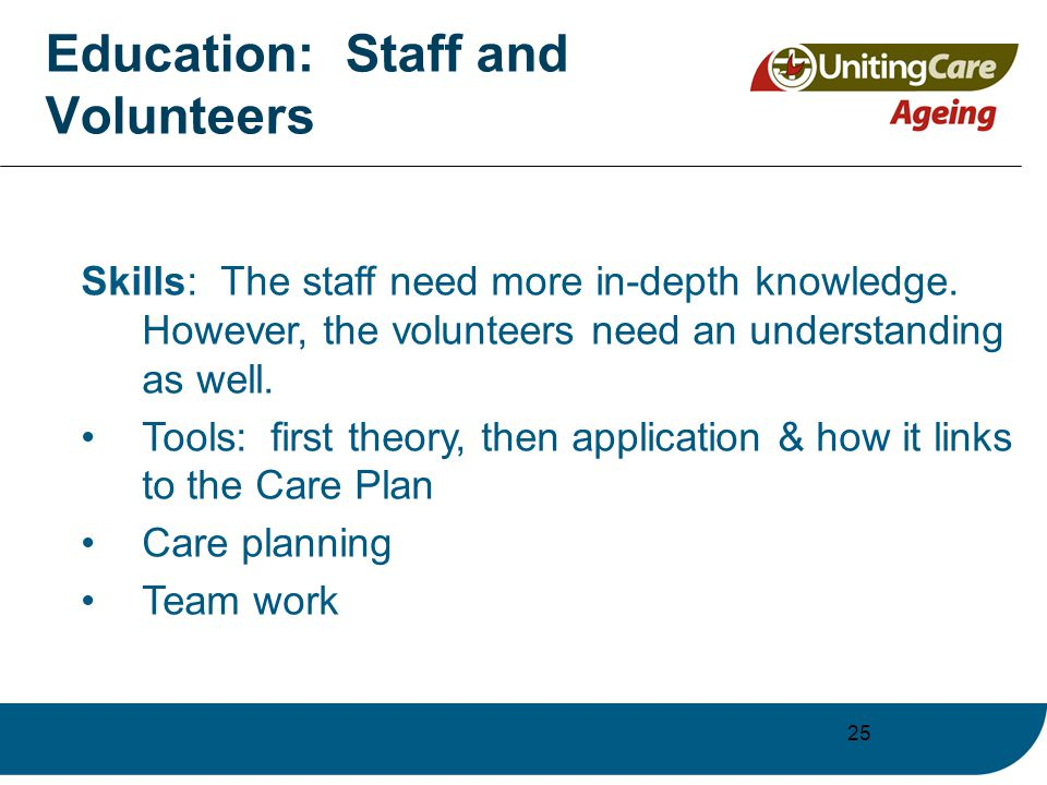 25 Education: Staff and Volunteers Skills: The staff need more in-depth knowledge.