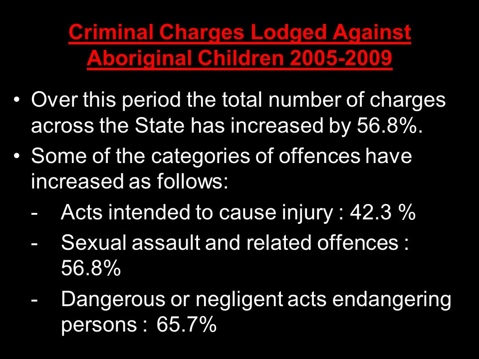 Criminal Charges Lodged Against Aboriginal Children Over this period the total number of charges across the State has increased by 56.8%.