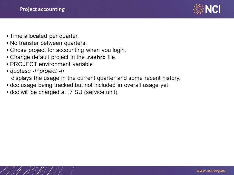 Project accounting Time allocated per quarter. No transfer between quarters.
