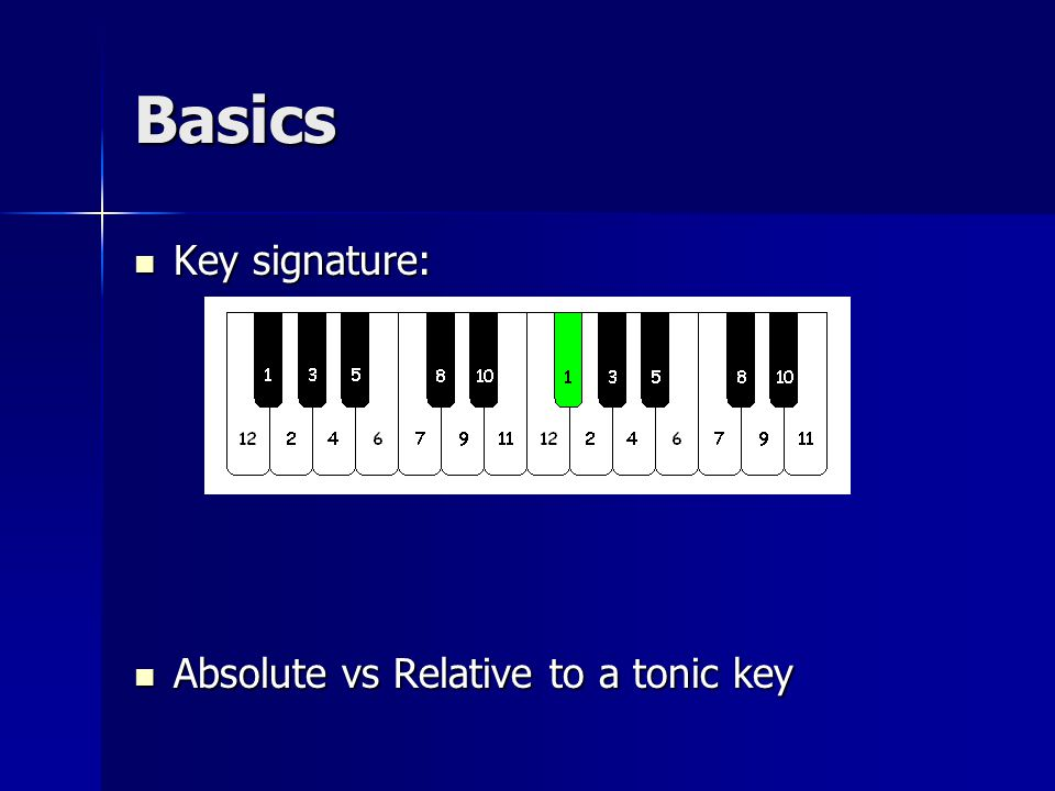 Basics Key signature: Key signature: Absolute vs Relative to a tonic key Absolute vs Relative to a tonic key