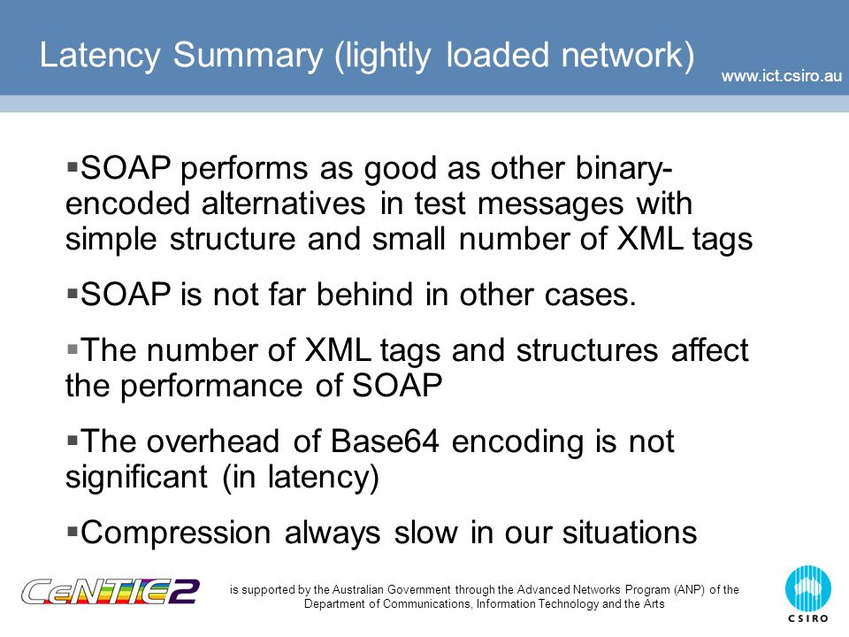 is supported by the Australian Government through the Advanced Networks Program (ANP) of the Department of Communications, Information Technology and the Arts Latency Summary (lightly loaded network)  SOAP performs as good as other binary- encoded alternatives in test messages with simple structure and small number of XML tags  SOAP is not far behind in other cases.