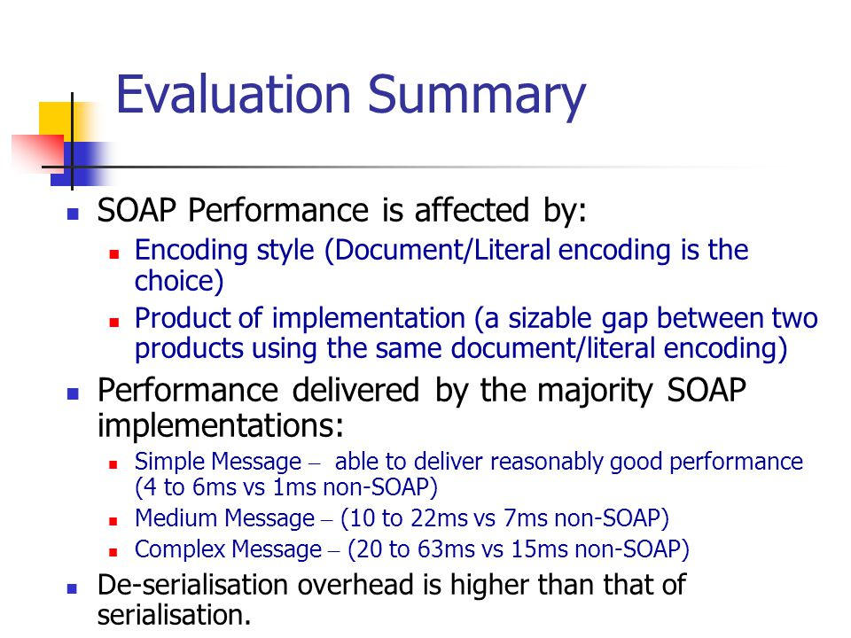 Evaluation Summary SOAP Performance is affected by: Encoding style (Document/Literal encoding is the choice) Product of implementation (a sizable gap