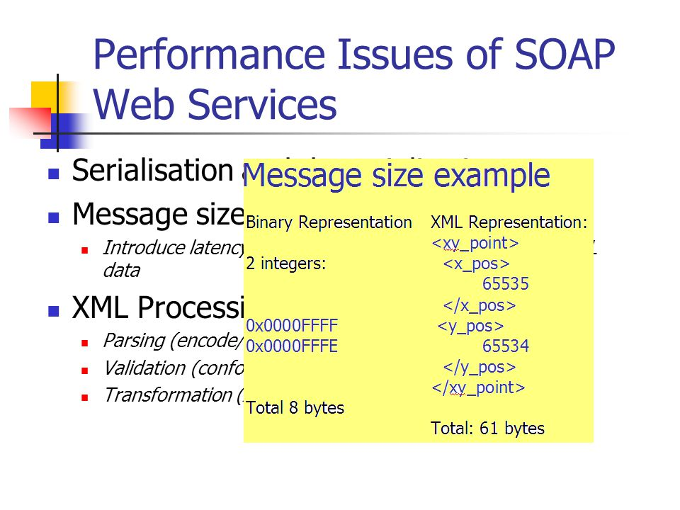 Performance Issues of SOAP Web Services Serialisation and de-serialisation Message size ( 6-8 times larger than binary) Introduce latency in transmiss