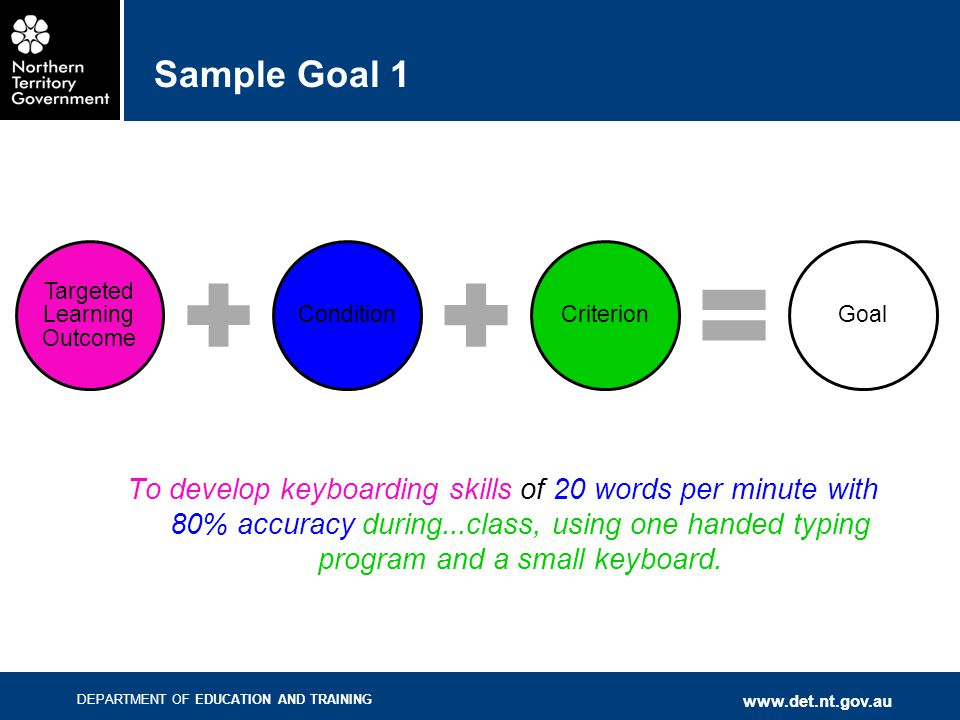 DEPARTMENT OF EDUCATION AND TRAINING www.det.nt.gov.au Sample Goal 1 To develop keyboarding skills of 20 words per minute with 80% accuracy during...c
